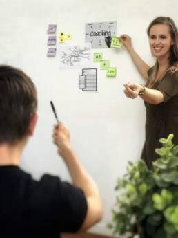 Antje Bracke geeft training aan een bord met post-its over coaching en HR en lacht naar een deelnemer die wijst naar het bord